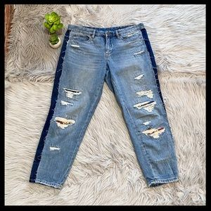 Blank NYC Crop Girlfriend Destroyed Contrast Jeans